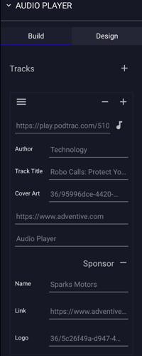 Ad Builder - Components - Audio Player Configuration